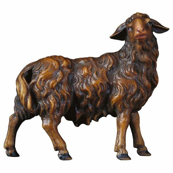 Imagen de Ovejas que mira a la derecha cm 8 (3,1 inch) Belén Pastor Pintado a Mano Estatua artesanal de madera Val Gardena estilo campesino clásico