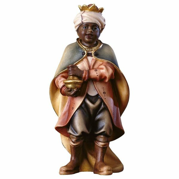 Imagen de Niño Cantor Negro cm 8 (3,1 inch) Belén Pastor Pintado a Mano Estatua artesanal de madera Val Gardena estilo campesino clásico