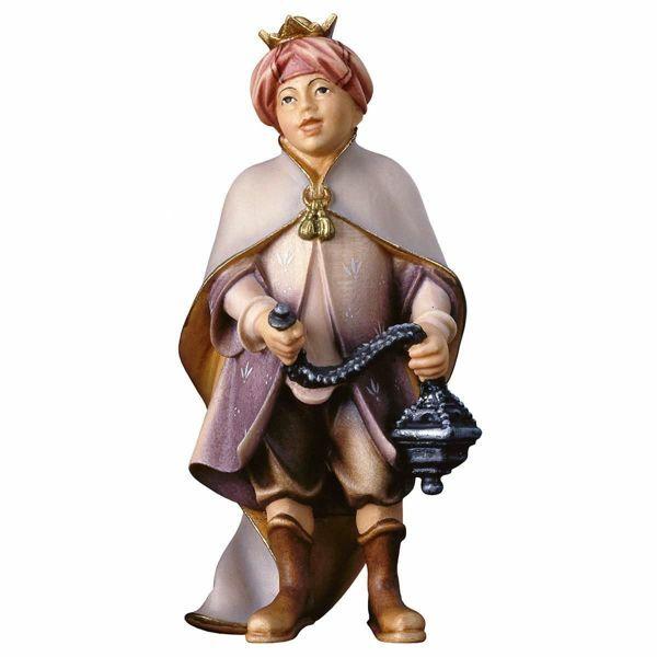 Imagen de Niño Cantor con Incienso cm 8 (3,1 inch) Belén Pastor Pintado a Mano Estatua artesanal de madera Val Gardena estilo campesino clásico