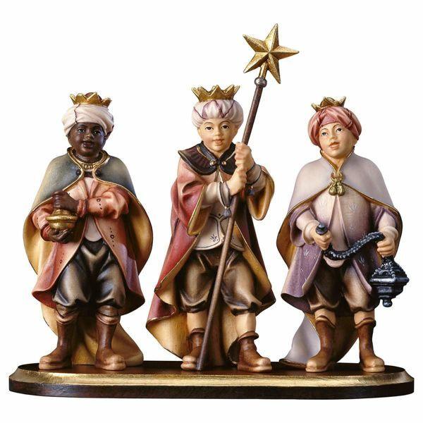 Immagine di Gruppo Tre Piccoli Cantori su piedistallo 4 Pezzi cm 8 (3,1 inch) Presepe Pastore Dipinto a Mano Statua artigianale in legno Val Gardena stile contadino classico