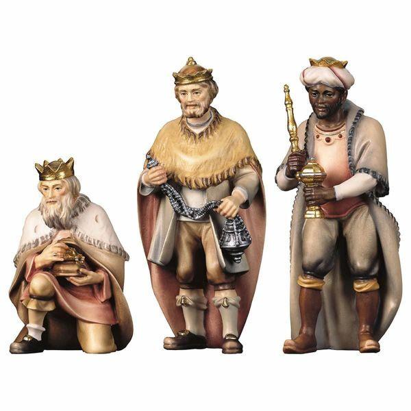 Imagen de Grupo Tres Reyes Magos 3 Piezas cm 8 (3,1 inch) Belén Pastor Pintado a Mano Estatua artesanal de madera Val Gardena estilo campesino clásico