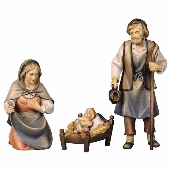 Immagine di Sacra Famiglia 4 Pezzi cm 8 (3,1 inch) Presepe Pastore Dipinto a Mano Statua artigianale in legno Val Gardena stile contadino classico
