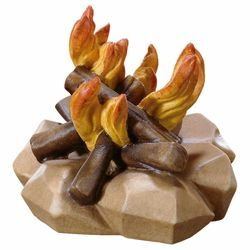 Picture of Fire cm 10 (3,9 inch) Hand Painted Shepherd Nativity Scene classic Val Gardena wooden Statue peasant style