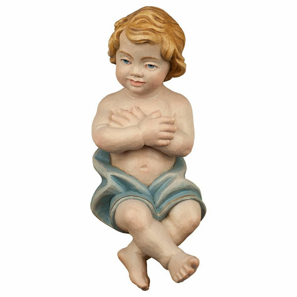 Picture of Baby Jesus cm 10 (3,9 inch) Hand Painted Shepherd Nativity Scene classic Val Gardena wooden Statue peasant style