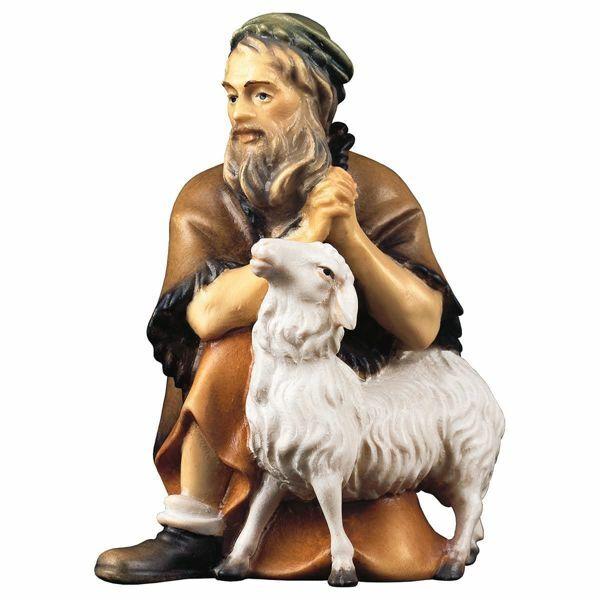 Imagen de Pastor arrodillado con Oveja cm 10 (3,9 inch) Belén Pastor Pintado a Mano Estatua artesanal de madera Val Gardena estilo campesino clásico