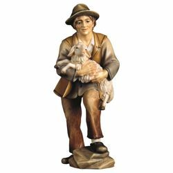 Picture of Shepherd with Lamb cm 10 (3,9 inch) Hand Painted Shepherd Nativity Scene classic Val Gardena wooden Statue peasant style