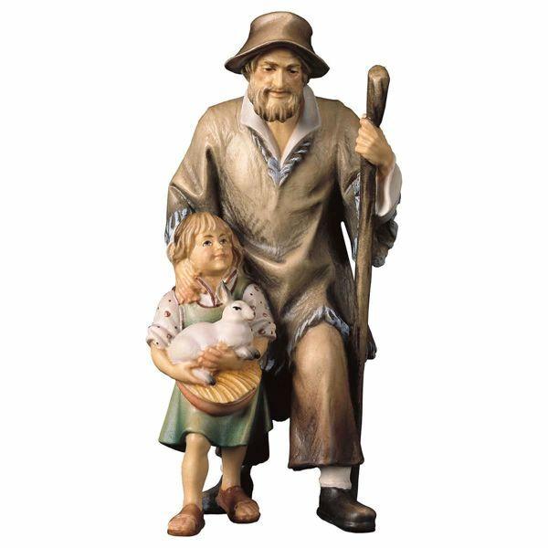 Imagen de Pastor con Chica cm 10 (3,9 inch) Belén Pastor Pintado a Mano Estatua artesanal de madera Val Gardena estilo campesino clásico