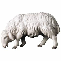 Picture of Sheep eating cm 10 (3,9 inch) Hand Painted Shepherd Nativity Scene classic Val Gardena wooden Statue peasant style