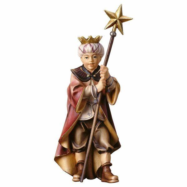 Imagen de Niño Cantor con Estrella cm 10 (3,9 inch) Belén Pastor Pintado a Mano Estatua artesanal de madera Val Gardena estilo campesino clásico