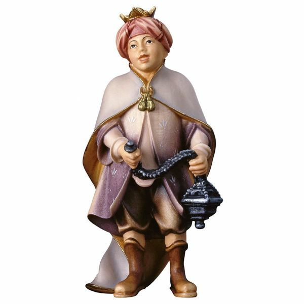 Imagen de Niño Cantor con Incienso cm 10 (3,9 inch) Belén Pastor Pintado a Mano Estatua artesanal de madera Val Gardena estilo campesino clásico