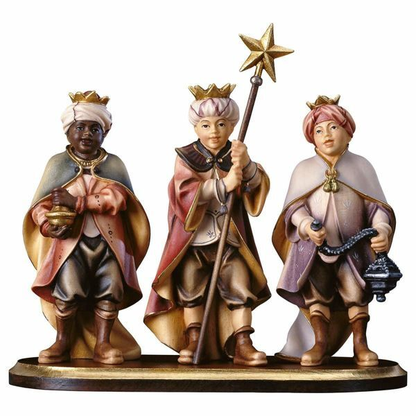 Imagen de Grupo Niños Cantores y Pedestal 4 Piezas cm 10 (3,9 inch) Belén Pastor Pintado a Mano Estatua artesanal de madera Val Gardena estilo campesino clásico