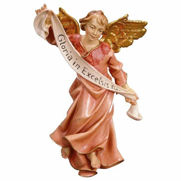 Imagen de Ángel Gloria cm 12 (4,7 inch) Belén Pastor Pintado a Mano Estatua artesanal de madera Val Gardena estilo campesino clásico