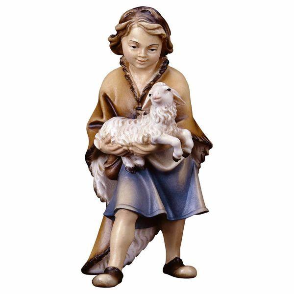 Imagen de Chico con Cordero cm 12 (4,7 inch) Belén Pastor Pintado a Mano Estatua artesanal de madera Val Gardena estilo campesino clásico