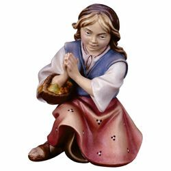 Picture of Kneeling Girl that prays cm 12 (4,7 inch) Hand Painted Shepherd Nativity Scene classic Val Gardena wooden Statue peasant style