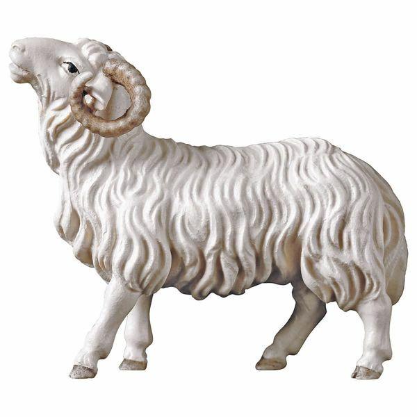 Imagen de Carnero cm 12 (4,7 inch) Belén Pastor Pintado a Mano Estatua artesanal de madera Val Gardena estilo campesino clásico