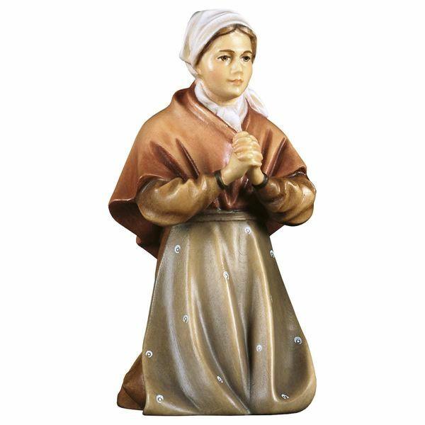 Imagen de Campesina que reza cm 12 (4,7 inch) Belén Pastor Pintado a Mano Estatua artesanal de madera Val Gardena estilo campesino clásico