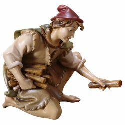 Picture of Kneeling Herder with Wood cm 12 (4,7 inch) Hand Painted Shepherd Nativity Scene classic Val Gardena wooden Statue peasant style