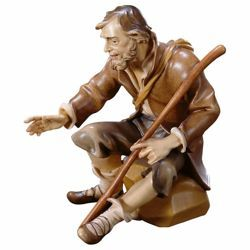 Picture of Sitting Shepherd with Stick cm 12 (4,7 inch) Hand Painted Shepherd Nativity Scene classic Val Gardena wooden Statue peasant style