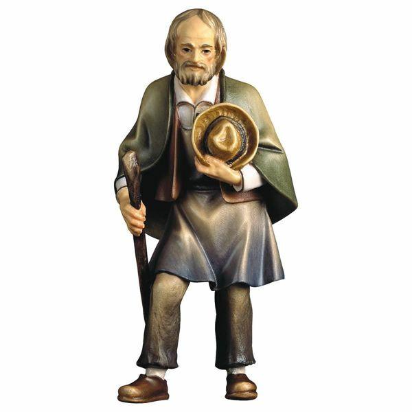 Imagen de Viejo Campesino con Bastón cm 12 (4,7 inch) Belén Pastor Pintado a Mano Estatua artesanal de madera Val Gardena estilo campesino clásico