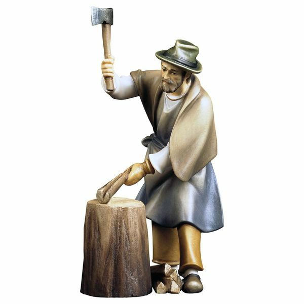 Immagine di Boscaiolo con ceppo di legno 2 Pezzi cm 12 (4,7 inch) Presepe Pastore Dipinto a Mano Statua artigianale in legno Val Gardena stile contadino classico