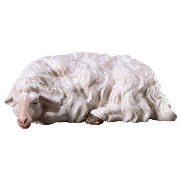 Imagen de Oveja durmiente cm 12 (4,7 inch) Belén Pastor Pintado a Mano Estatua artesanal de madera Val Gardena estilo campesino clásico