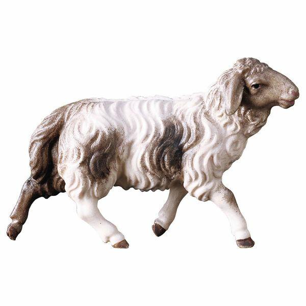 Immagine di Pecora che corre macchiata cm 12 (4,7 inch) Presepe Pastore Dipinto a Mano Statua artigianale in legno Val Gardena stile contadino classico