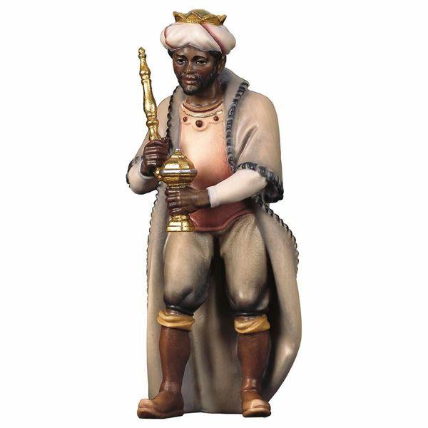 Imagen de Baltasar Rey Mago Negro cm 12 (4,7 inch) Belén Pastor Pintado a Mano Estatua artesanal de madera Val Gardena estilo campesino clásico
