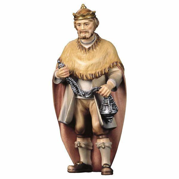 Imagen de Gaspar Rey Mago Blanco cm 12 (4,7 inch) Belén Pastor Pintado a Mano Estatua artesanal de madera Val Gardena estilo campesino clásico