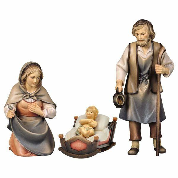 Imagen de Sagrada Familia con Cuna 4 Piezas cm 12 (4,7 inch) Belén Pastor Pintado a Mano Estatua artesanal de madera Val Gardena estilo campesino clásico