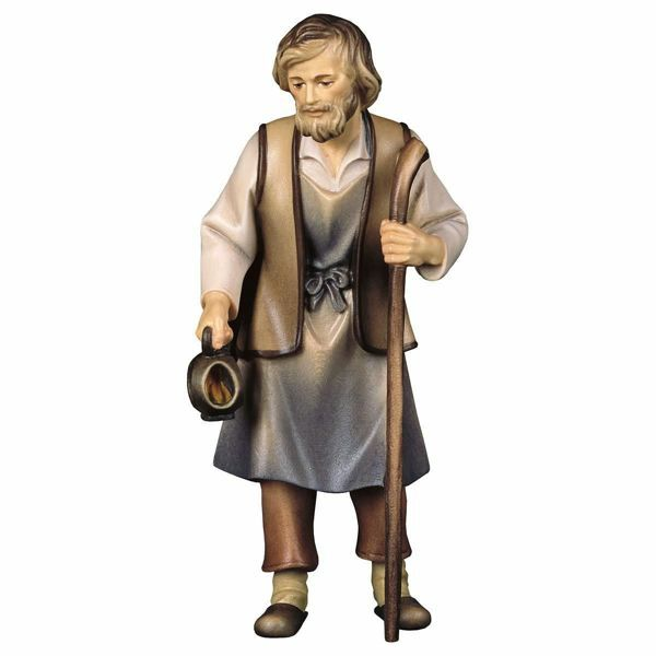 Imagen de San José cm 12 (4,7 inch) Belén Pastor Pintado a Mano Estatua artesanal de madera Val Gardena estilo campesino clásico