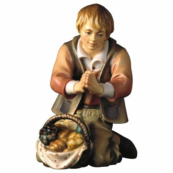 Picture of Kneeling Herder with Bread cm 16 (6,3 inch) Hand Painted Shepherd Nativity Scene classic Val Gardena wooden Statue peasant style