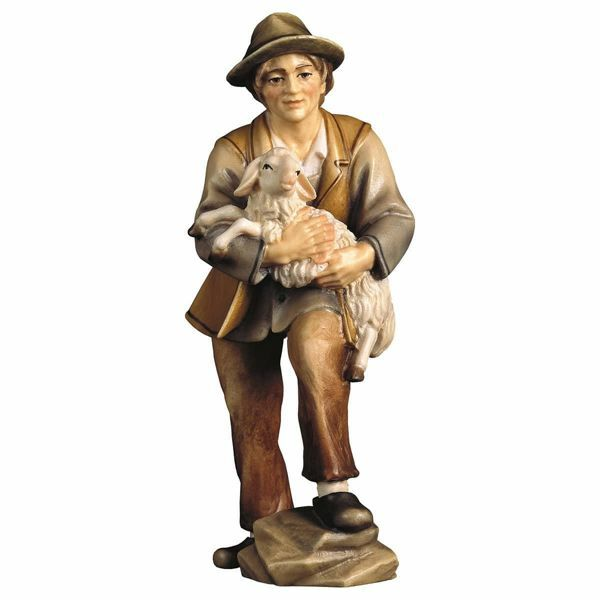 Picture of Shepherd with Lamb cm 16 (6,3 inch) Hand Painted Shepherd Nativity Scene classic Val Gardena wooden Statue peasant style