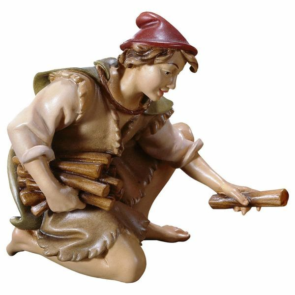 Picture of Kneeling Herder with Wood cm 16 (6,3 inch) Hand Painted Shepherd Nativity Scene classic Val Gardena wooden Statue peasant style