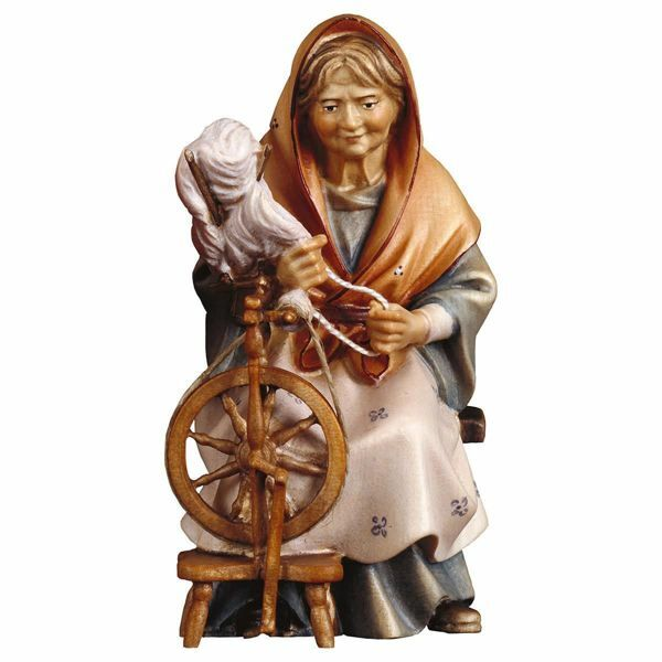 Picture of Old Woman with spinning Wheel cm 16 (6,3 inch) Hand Painted Shepherd Nativity Scene classic Val Gardena wooden Statue peasant style