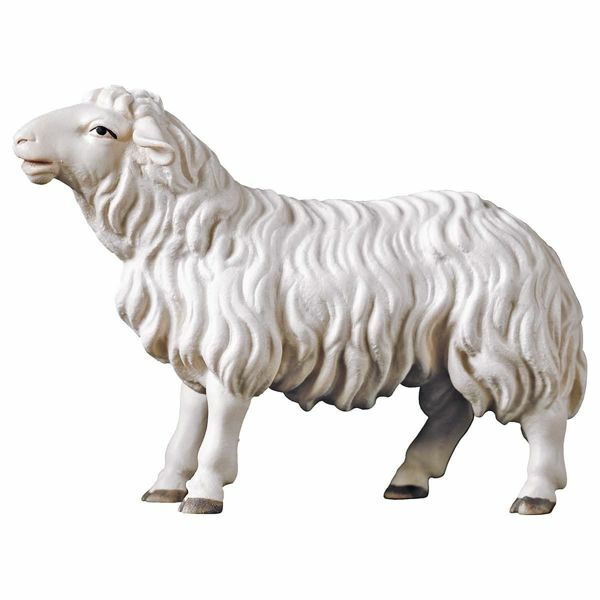 Picture of Sheep looking forward cm 16 (6,3 inch) Hand Painted Shepherd Nativity Scene classic Val Gardena wooden Statue peasant style