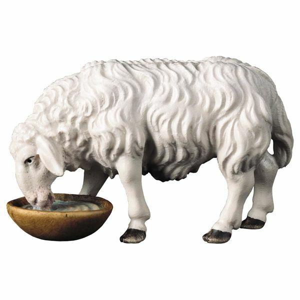 Picture of Sheep drinking cm 16 (6,3 inch) Hand Painted Shepherd Nativity Scene classic Val Gardena wooden Statue peasant style