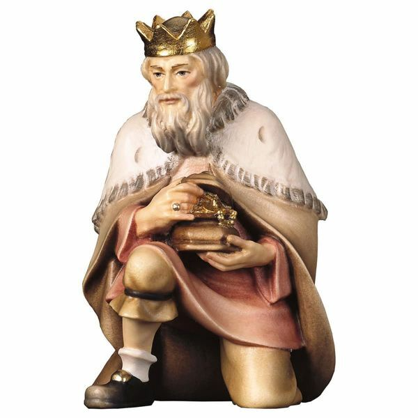Picture of Melchior Saracen Wise King kneeling cm 16 (6,3 inch) Hand Painted Shepherd Nativity Scene classic Val Gardena wooden Statue peasant style