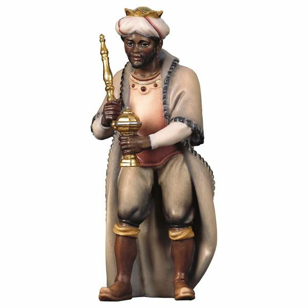 Imagen de Baltasar Rey Mago Negro cm 50 (19,7 inch) Belén Pastor Pintado a Mano Estatua artesanal de madera Val Gardena estilo campesino clásico