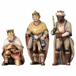 Picture of Three Wise Kings Group 3 Pieces cm 50 (19,7 inch) Hand Painted Shepherd Nativity Scene classic Val Gardena wooden Statue peasant style
