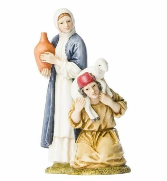 Immagine di Gruppo Donna con Anfora e Pastore inginocchiato cm 11 (4 inch) Presepe Landi Moranduzzo Statue in resina stile Arabo