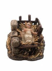 Immagine di Gesù Bambino in Fasce nella Culla cm 15 (5,9 inch) Presepe Landi Moranduzzo Statua in resina stile Arabo
