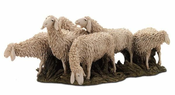 Immagine di Gregge di Pecore cm 15 (5,9 inch) Presepe Landi Moranduzzo Statua in resina stile Arabo