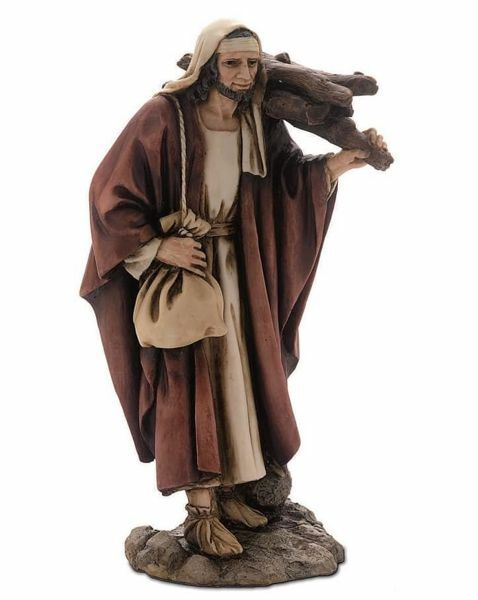 Picture of Shepherd with Wood cm 15 (5,9 inch) Landi Moranduzzo Nativity Scene resin Statue Arabic style