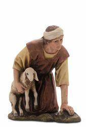 Immagine di Pastore inginocchiato con Agnello cm 15 (5,9 inch) Presepe Landi Moranduzzo Statua in resina stile Arabo