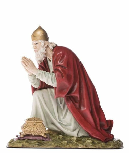 Immagine di Gaspare Re Magio Bianco cm 18 (7,1 inch) Presepe Landi Moranduzzo Statua in resina stile Arabo