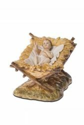 Immagine di Gesù Bambino con Culla cm 18 (7,1 inch) Presepe Landi Moranduzzo Statua in resina stile Arabo