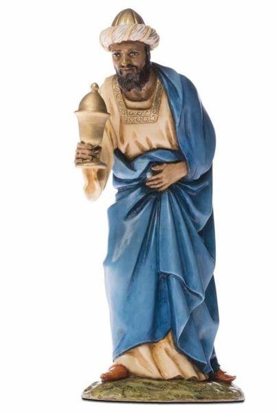 Imagen de Melchor Rey Mago Sarraceno cm 18 (7,1 inch) Belén Landi Moranduzzo Estatua de resina estilo árabe
