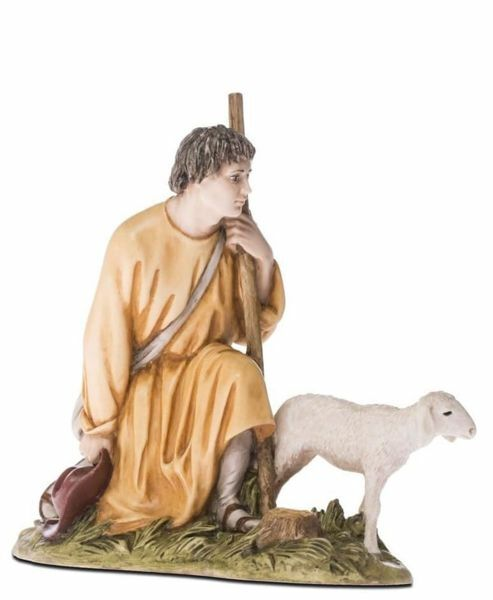 Imagen de Pastor arrodillado con Oveja cm 18 (7,1 inch) Belén Landi Moranduzzo Estatua de resina estilo árabe