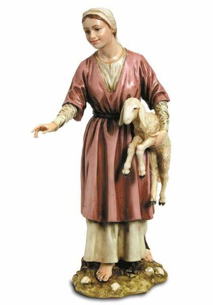 Immagine di Pastorella con Agnello cm 20 (7,9 inch) Presepe Landi Moranduzzo Statua in resina stile Arabo