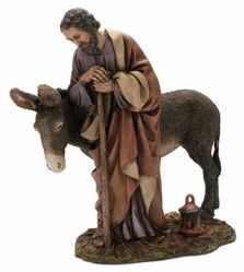 Picture of Saint Joseph with Donkey cm 20 (7,9 inch) Landi Moranduzzo Nativity Scene resin Statue Arabic style